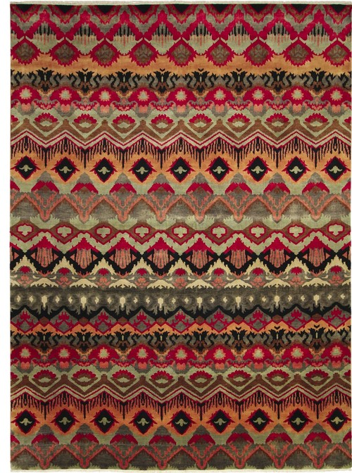 Fine Ikat Bahman Red Hand-Knotted Rug, 9'2x12'1
