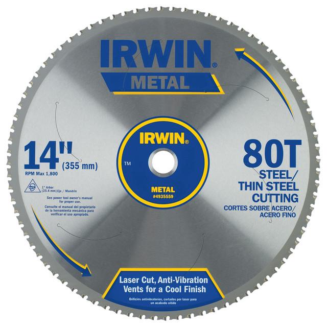 "Irwin 4935559 14"" 80 Tooth Carbide Metal Cutting Circular Saw Blade."