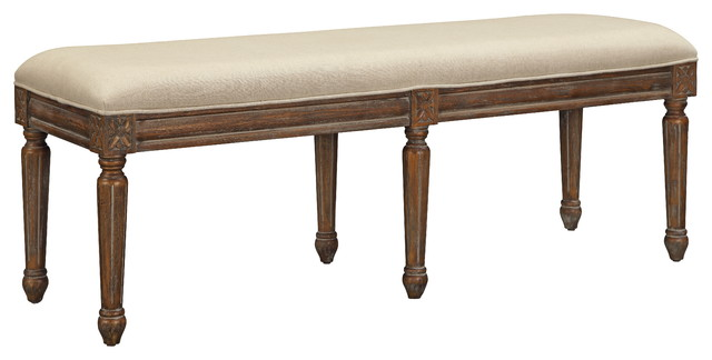 Microfiber Bench, Brown And Natural Beige. -1