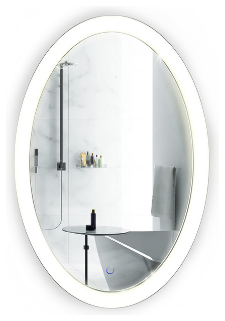 Oval LED Lighted Wall Mount Bathroom Mirror Fog Free Contemporary Mirrors