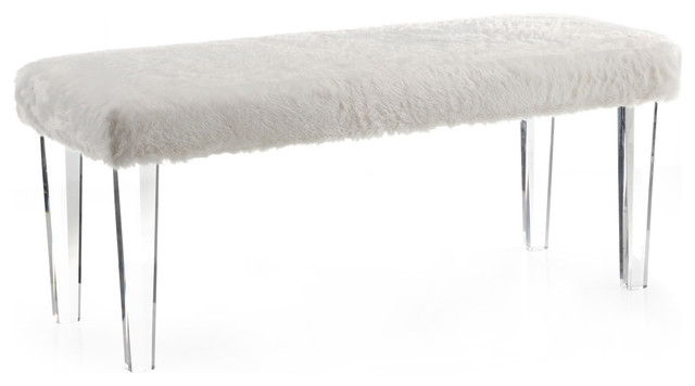Faux Fur Bench With Acrylic Legs Contemporary