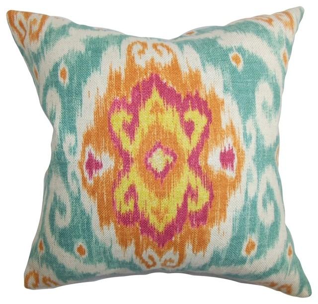 """Deandre Ikat Pillow Blue Orange 18""""x18""""."""