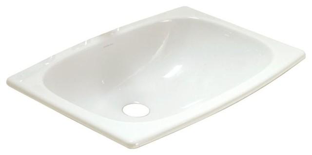 "Stinson 20""x14""x7.1"" Vitreous China Drop-In Bathroom Sink, White."