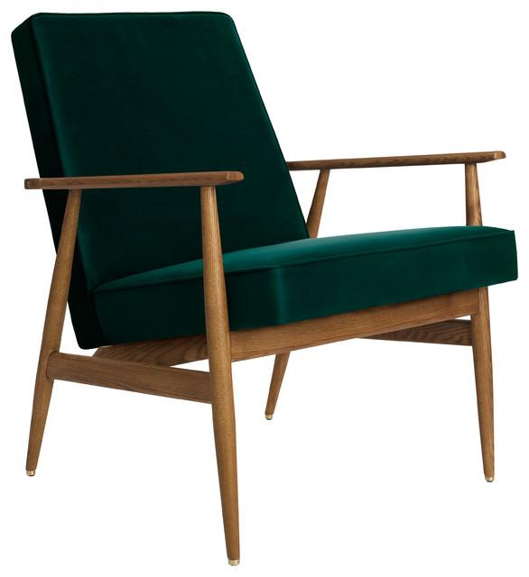 Fox Shine Velvet Lounge Chair, Bottle Green