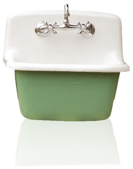 Deep Utility Sink Antique Inspired Cast Iron Porcelain Farm Sink Set,  Arsenic Farmhouse Utility