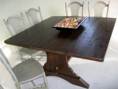"Farmhouse Kitchen Table Square square 60"" reclaimed oak trestle dining table - farmhouse - boston"