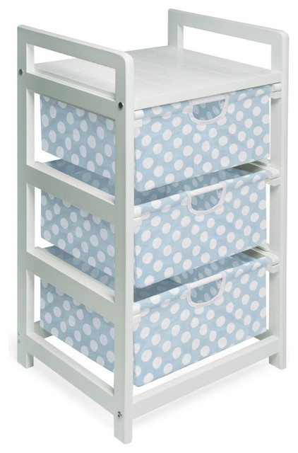 Badger Basket Co White Finish Three Bin Hamper/storage Unit, Blue Polka Dots.