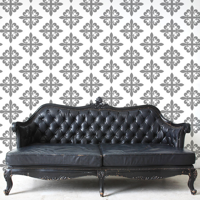 Fleur De Lis Pattern Wall Stencil For Painting Contemporary Wall