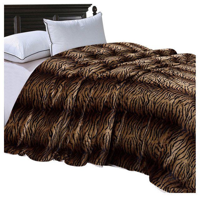 3afba78375 Tiger Faux Fur and Sherpa Blanket, Queen - Contemporary - Blankets - by BNF  Home