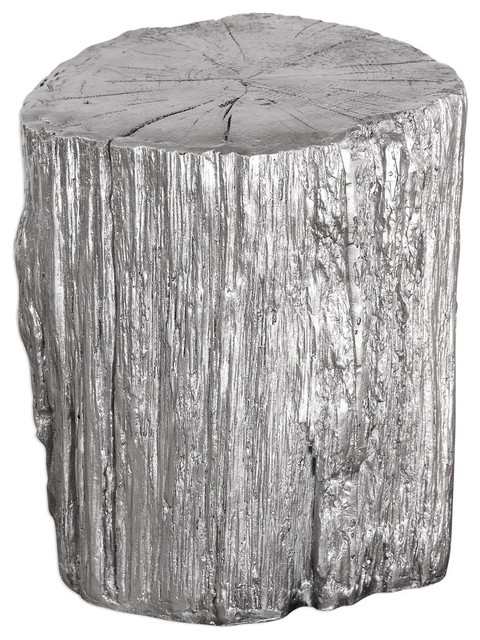 Super Elegant Silver Tree Stump Accent Table Pedestal Round Faux Bois Trunk Camellatalisay Diy Chair Ideas Camellatalisaycom