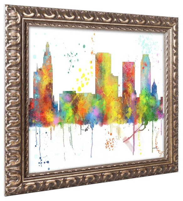 Tulsa oklahoma skyline mclr 1 ornate framed art 20 x14 for Home decor tulsa