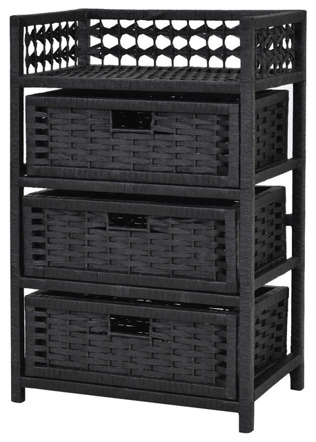 Attirant Costway 3 Drawer Storage Unit Tower Shelf Wicker Baskets Storage Chest Rack