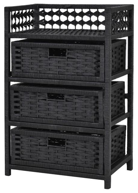 Tower Shelf Wicker Baskets Storage
