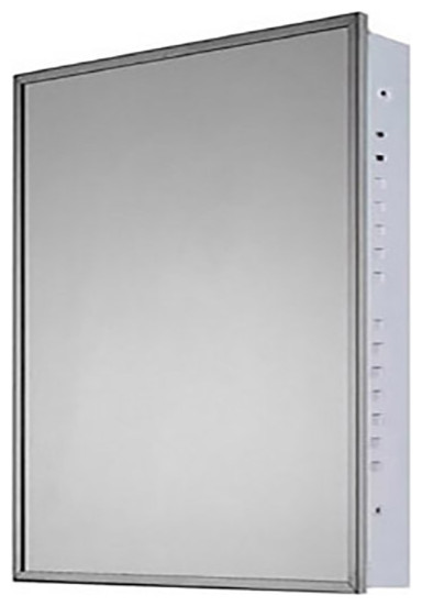 "Medicine Cabinet, 16""x22"", Bright Annealed Stainless Steel Frame, Flush Mounted"