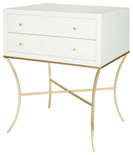 Worlds Away Elena Two Drawer Nightstand / Side Table, White Lacquer And Brass.