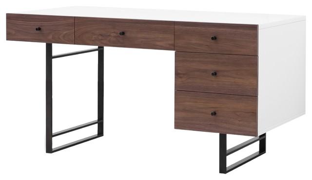 Mid-Century Modern White Lacquer Desk, Walnut, 60\