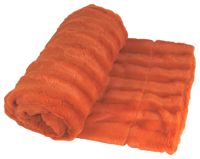 Derby Double Sided Faux Fur Throw Blanket, Burnt Orange.