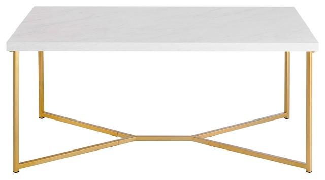 "Walker Edison White Marble/Gold 42"" Y-Leg Coffee Table, Af42Luxwmg"