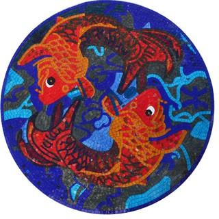 Mosaic Medallion Orange Koi Fish Asian Tile Murals