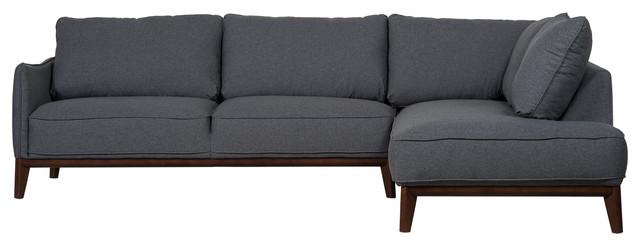 Kendall Modern Sectional Sofa, Dark Grey, Right-Hand Facing