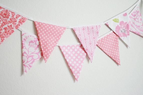 Fabric Banner Bunting Flags, Pretty in Pink by Little Boats
