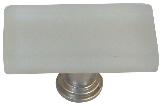 1x2 Frosted Glass Knob Satin Nickel Base, White.