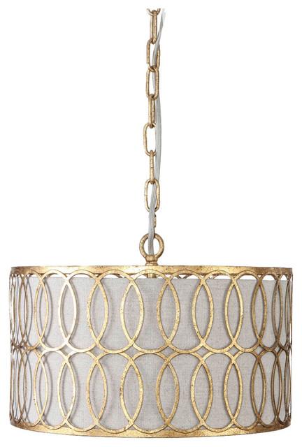 gabby peterson antique gold drum pendant - Drum Pendant Lighting