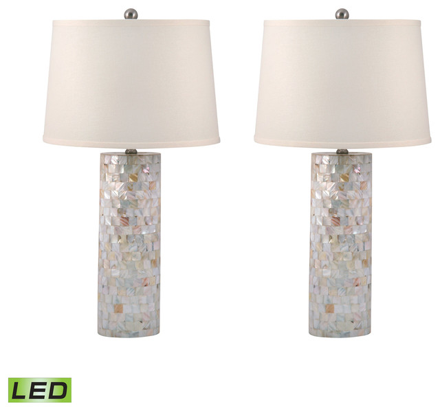 Mother Of Pearl Cylinder Table Lamp, Set Of 2, LED Beach Style