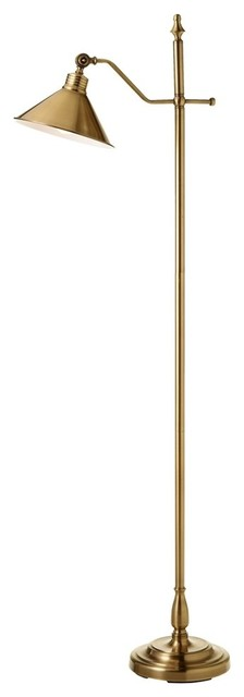 Maren Cone Shade Floor Lamp, Brushed Gold.