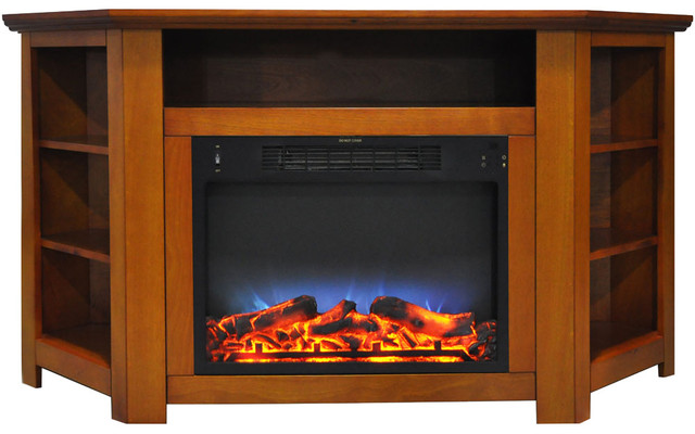 Stratford 56 Electric Corner Fireplace, Teak With Led Multi-Color Display.