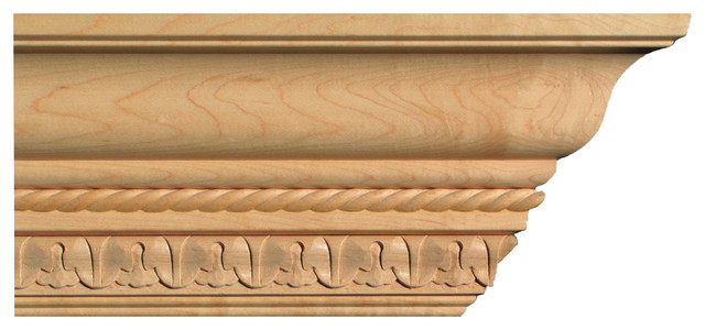 """Lamb And Tongue Crown Molding In Maple 5-1/8"""" By Campbell Moulding."""