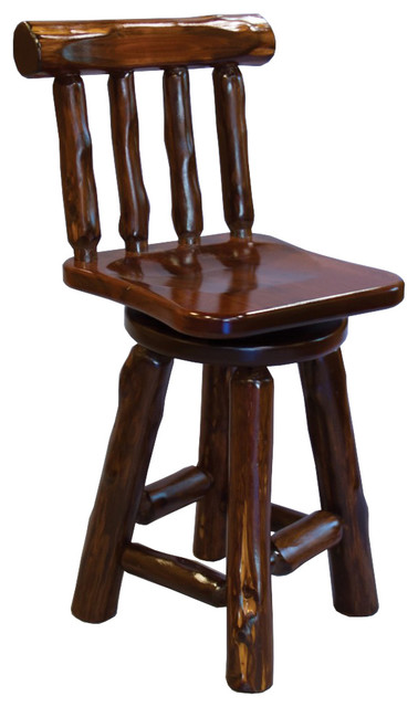 Rustic Stained Red Cedar Log Swivel Bar Stool With Back