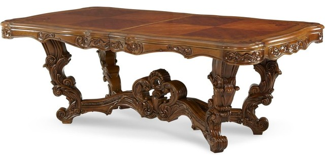 AICO Palais Royale Rococo Cognac Rectangular Dining Table