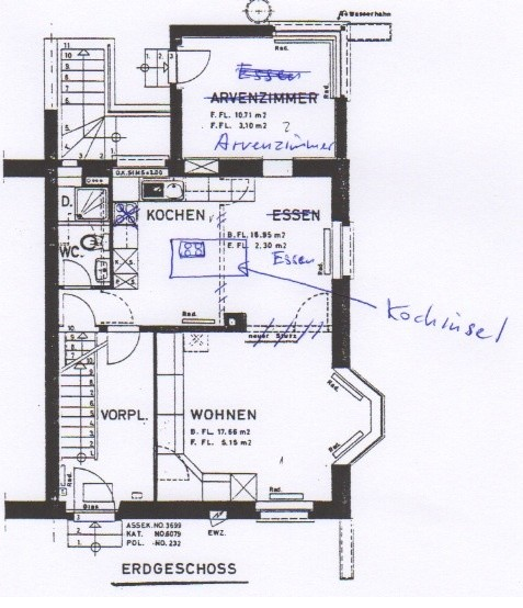Tiny historical house original layout or open plan on ground floor