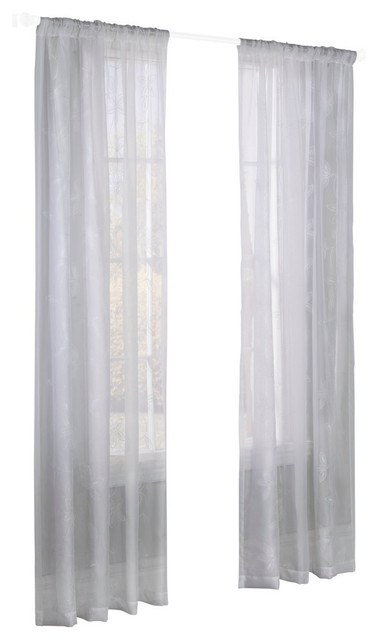 """Elizabeth Sheer Floral Embroidered Curtain Panel, White, 50""""x84""""."""