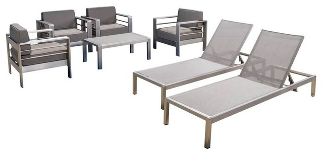 Coral Bay Outdoor Club Chair Set, 2 Chaise Lounges And Table, 7 Piece Set.