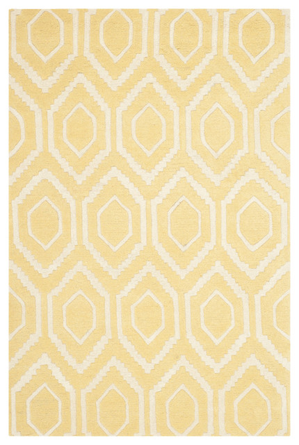 Essex Hand-Tufted Area Rug, Light Gold and Ivory, 121x182 cm