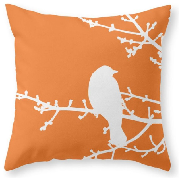 "Orange Bird Pillow Cover, 18""x18"" With Insert"