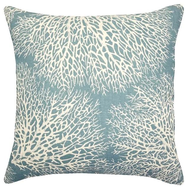 "Ariel Ocean 17"" Square Decorative Pillow - Fan Coral Throw Pillows."