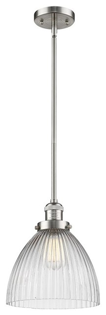 Pendleton 1-Light Stem Mini Pendant Satin Brushed Nickel Halophane Glass.