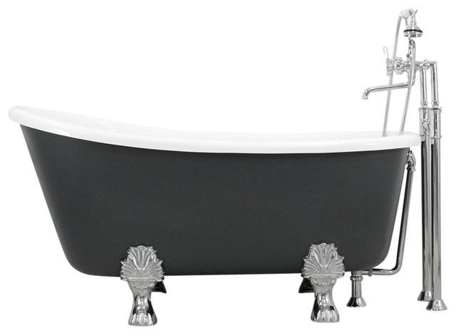 Cosimo White Acrylic Swedish Slipper Clawfoot Tub Package Iron Grey Exterior 5