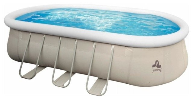 18\'x10\' Chinook Gray Oval Steel Frame Above Ground Swimming Pool Set