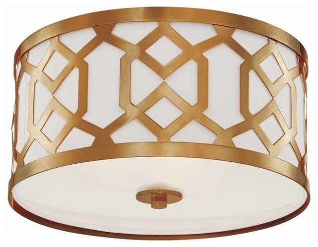 Crystorama Jennings Drum Shade Flush Mount Ceiling Light Aged Br
