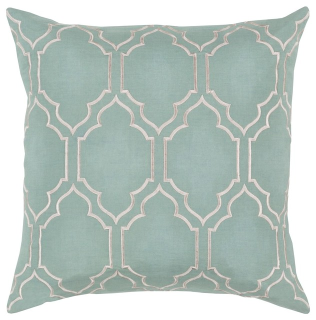"""Skyline By Surya Poly Fill Pillow, Sage/ivory, 18""""x18"""", Ba048-1818p."""