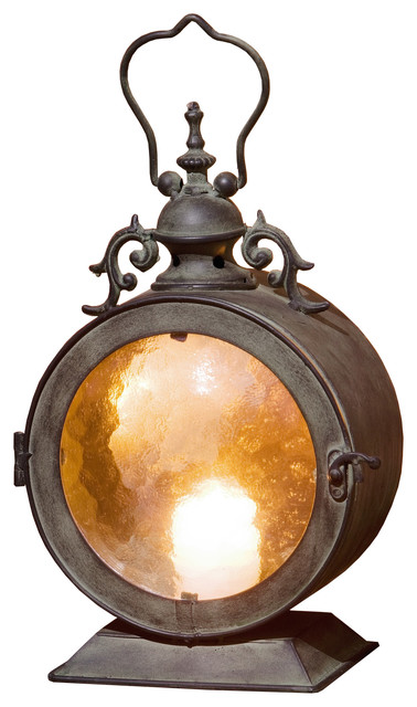 Metal Round Hanging Candle Lantern Curved Glass Insert