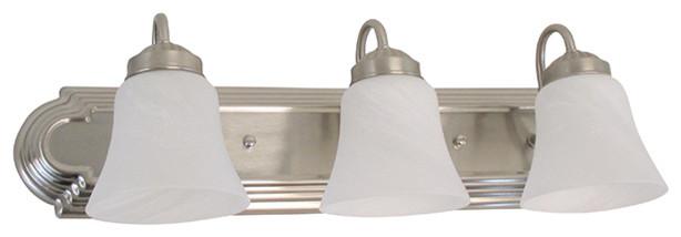 "Polished Brass And Chrome With Alabaster Swirl Glass 3 Light Bath 24/"""
