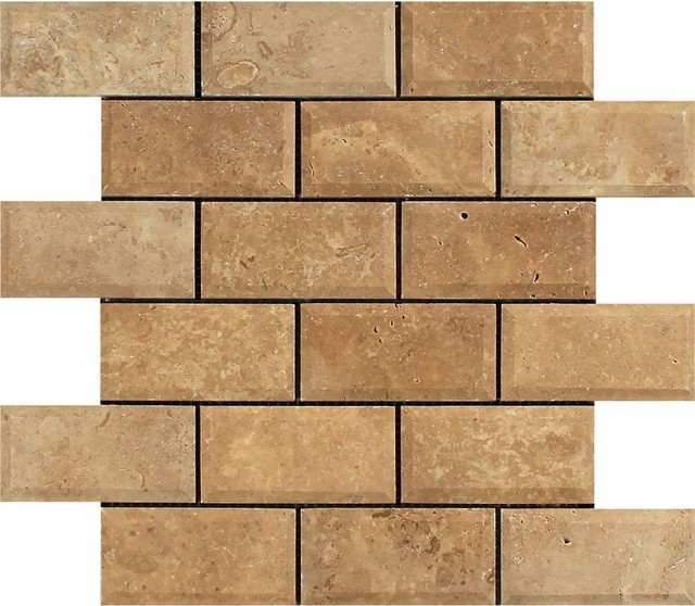Noce Travertine Deep Beveled Brick Mosaic 2x4 Tumbled