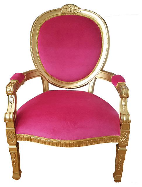 French Throne Chair Pink Velvet Gold Victorian