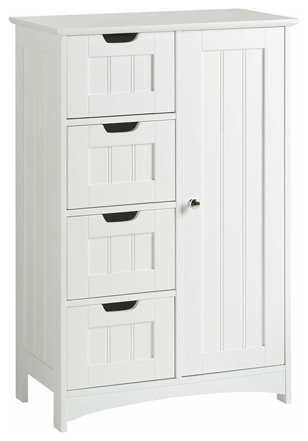 Floor Standing Storage Unit With 4-Drawer, 1-Door and Open Shelf, Modern, White