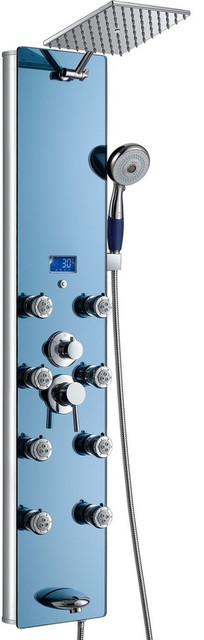 "Akdy Aluminum Shower Panel Tower With Square Rain Drop Shower Head, 52"", Blue."